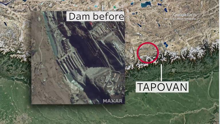 Cette image satellite montre le barrage de Tapovan en 2018. Crédit: