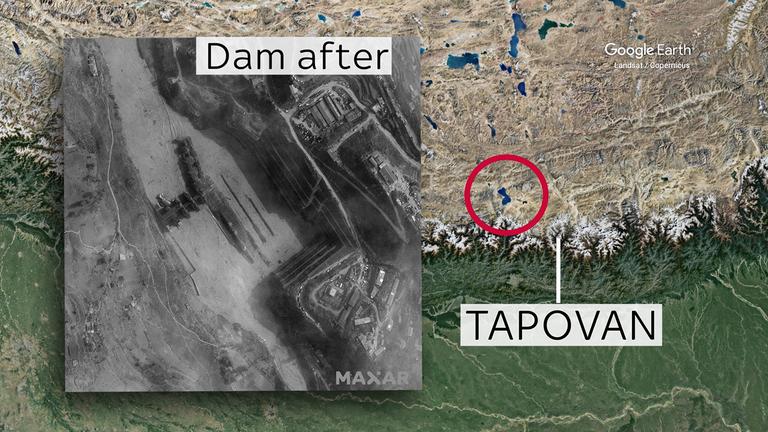 Cette image satellite montre le barrage de Tapovan après l'inondation.  Crédit: Image satellite © 2021 Maxar Technologies