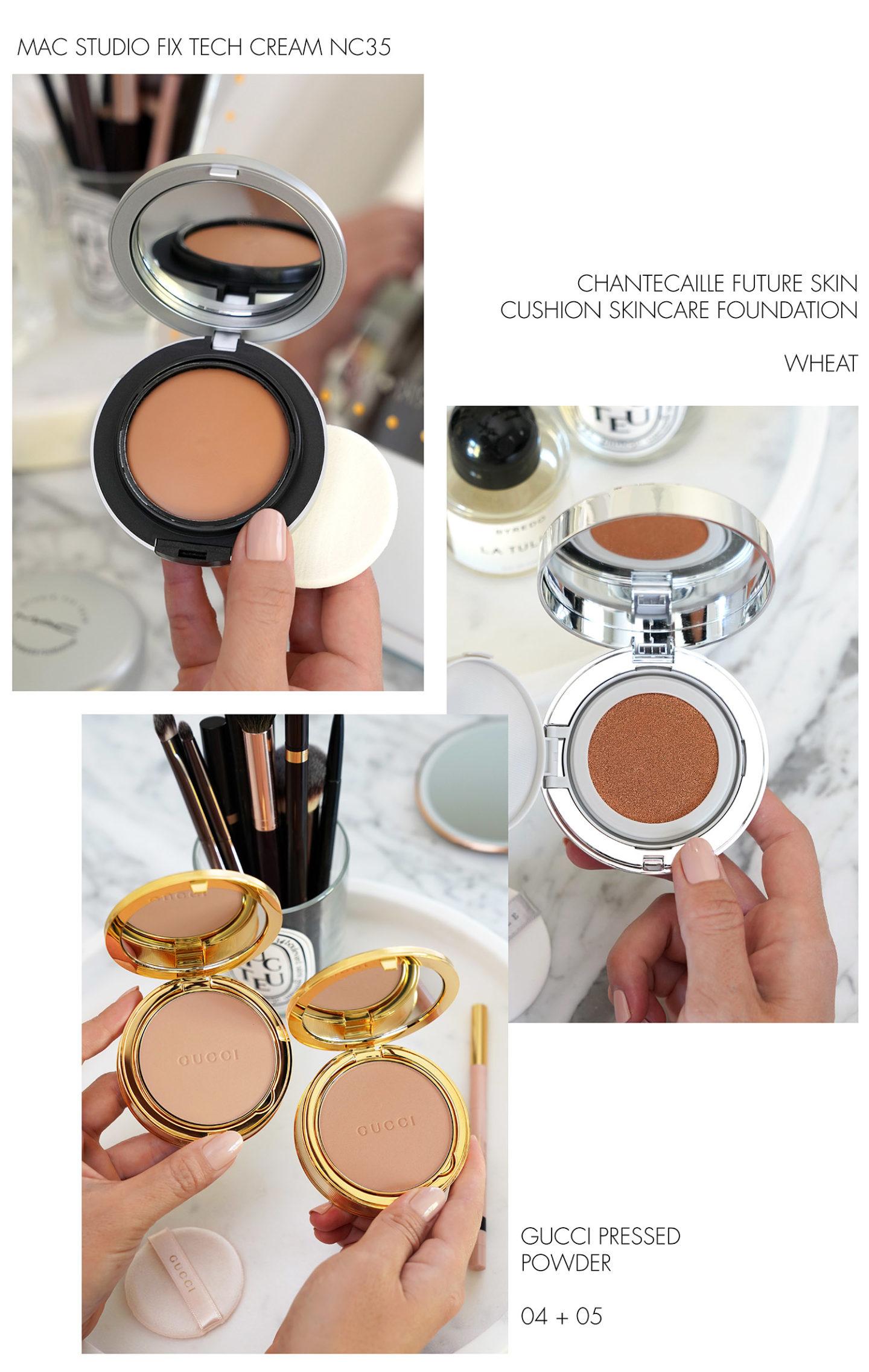 MAC Studio Fix Tech Cream NC35, Coussin Chantecaille Future Skin, Gucci Pressed Powder