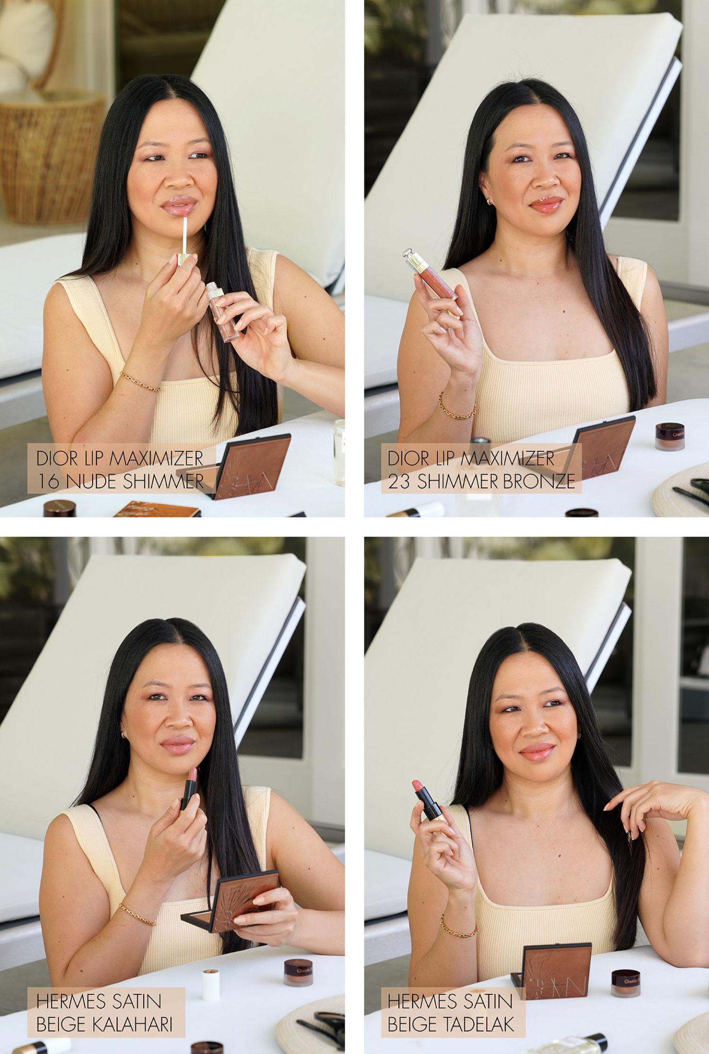 Dior Lip Maximizer Nude Shimmer, Bronze Shimmer, Rouge à lèvres Hermes Beige Kalahari et Beige Tadelak