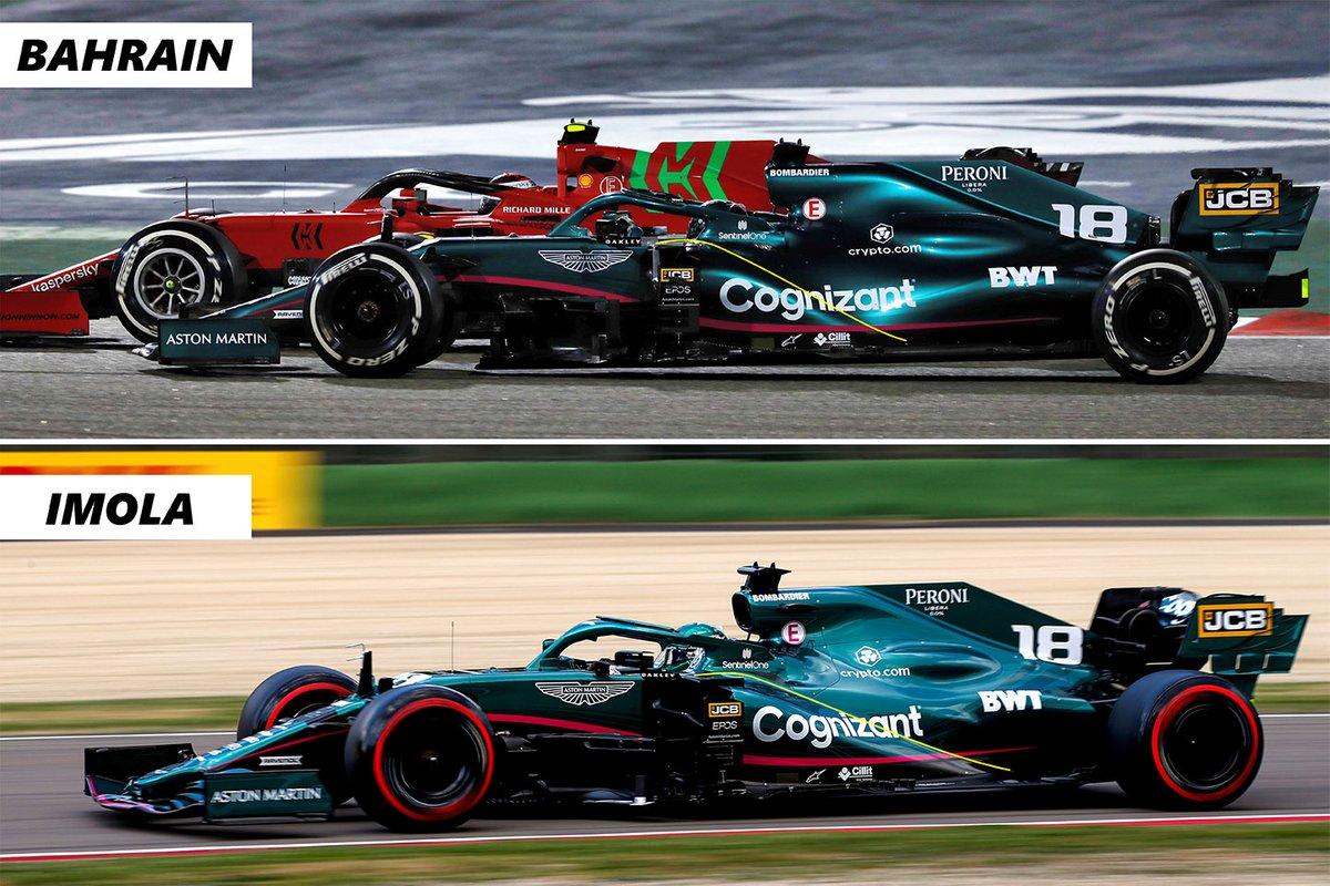Comparaison de l'emballage du capot latéral et du capot moteur de l'Aston Martin AMR21