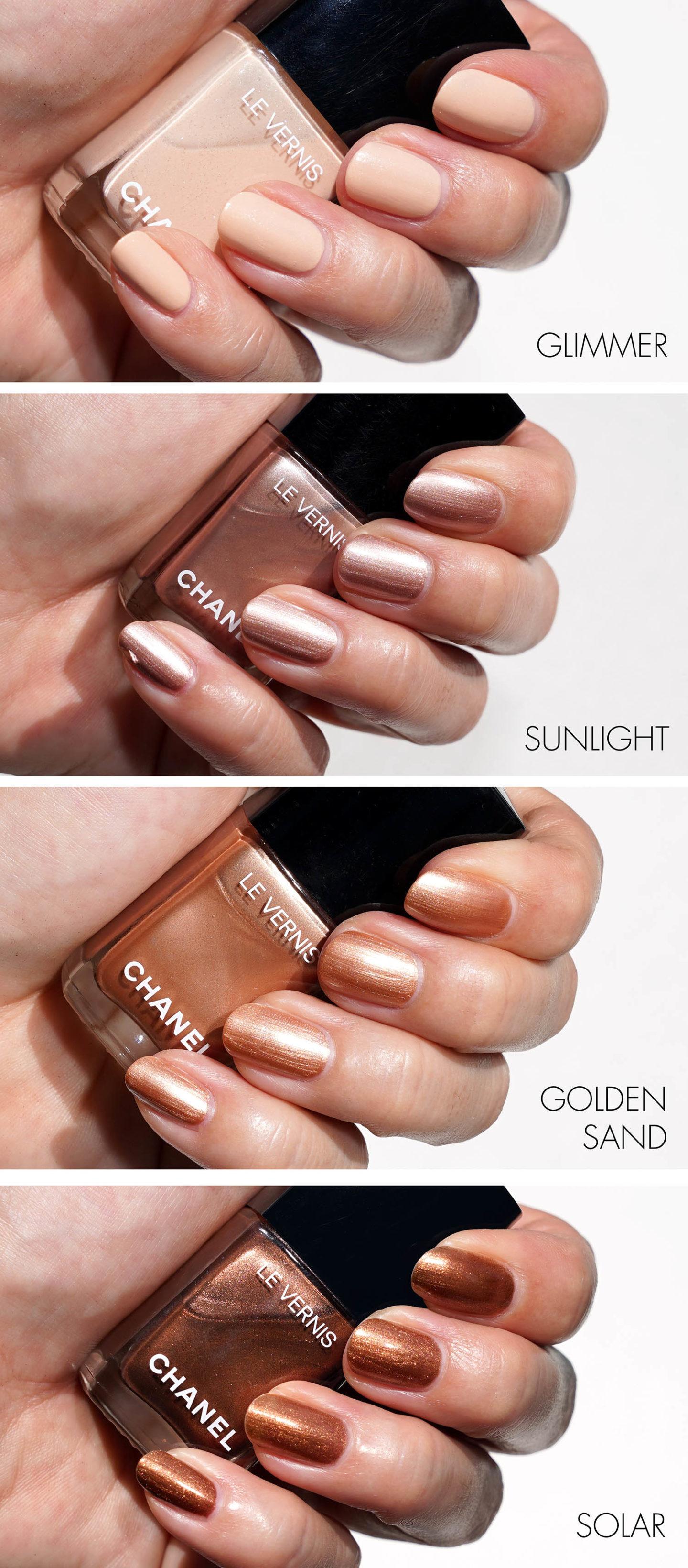 Chanel Les Beiges Le Vernis Glimmer, Sunlight, Golden Sand et Solar Swatches