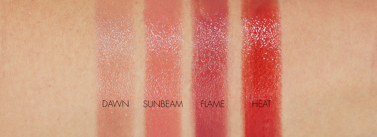 Chanel Rouge Coco Flash in Dawn, Heat, Sunbeam, Flame Swatches