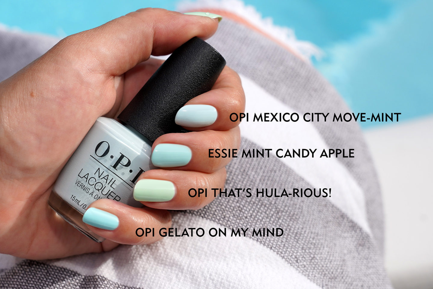 Vernis à ongles à la menthe OPI Mexico City Move-Mint, Essie Mint Candy Apple, OPI That's Hula-rious, OPI Gelato on my Mind