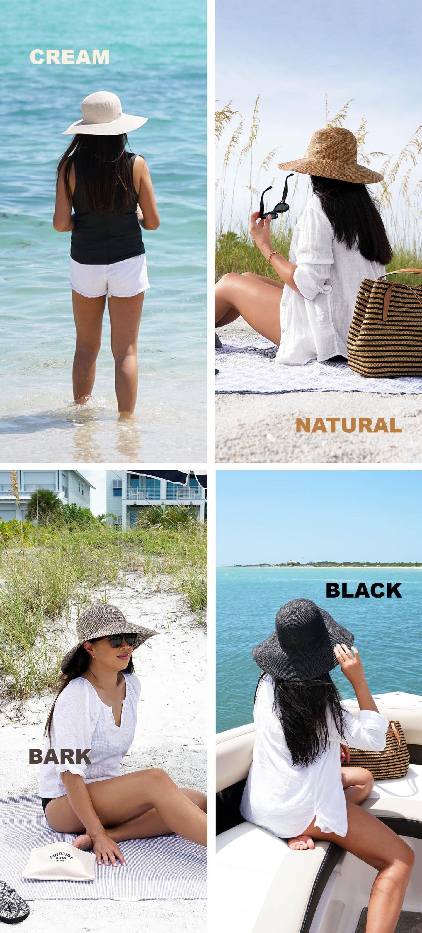 Eric Javits Hamptons Hat Crème, Naturel, Écorce et Noir