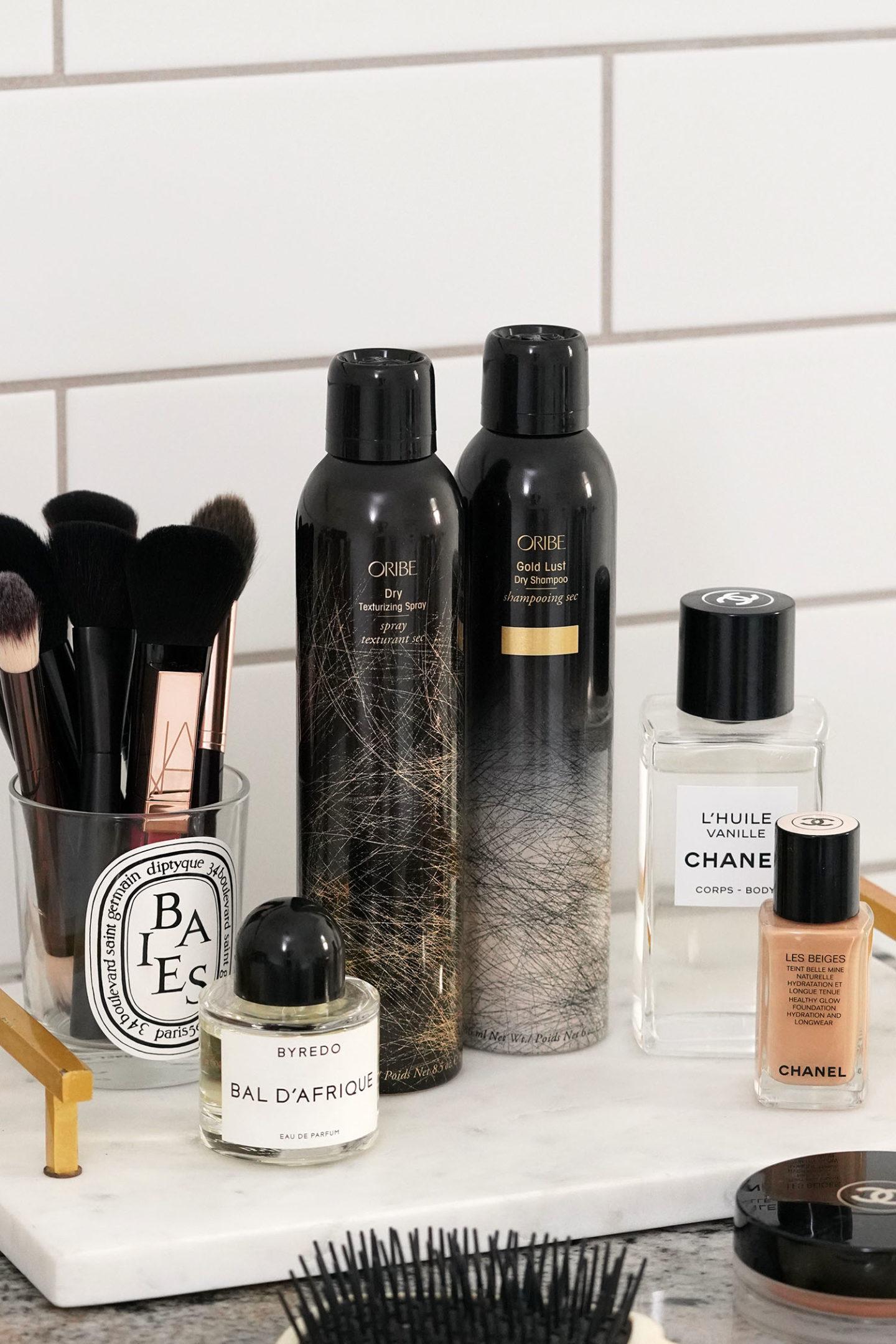Spray texturisant sec Oribe et shampooing sec Gold Lust