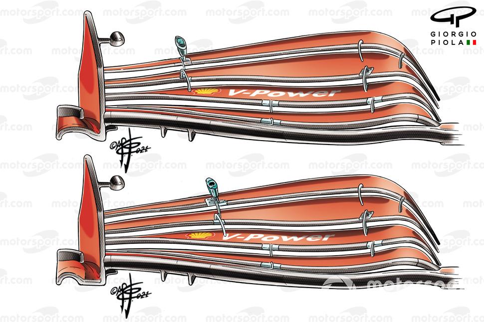 On notera également que, dans le sillage de la saga flexi-wing, Ferrari a modifié la partie inférieure de son flasque, en supprimant la partie arrière (flèche).