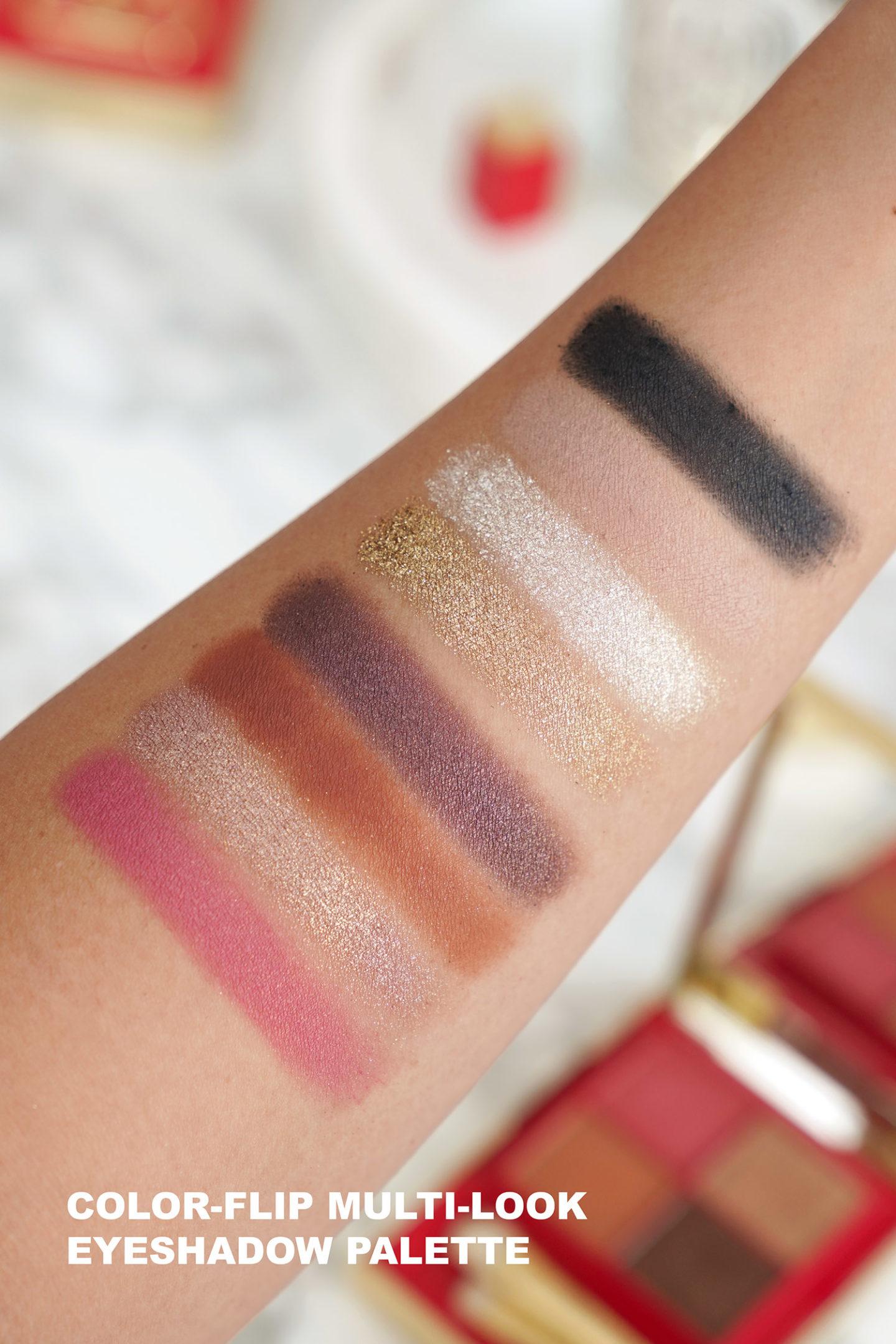 Échantillons de la palette de fards à paupières Color Flip Valentino