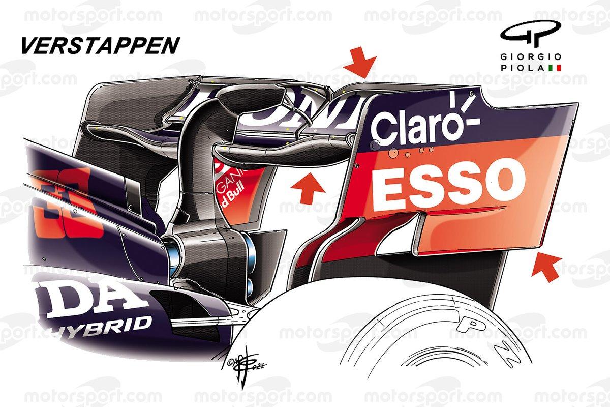 Max Verstappen, détail de l'aileron arrière Red Bull Racing RB16B