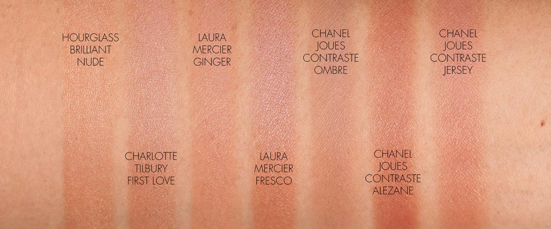 Nuancier Blush Neutre Chanel Ombre, Hourglass Brillant Nude, Charlotte Tilbury First Love, Laura Mercier Fresco