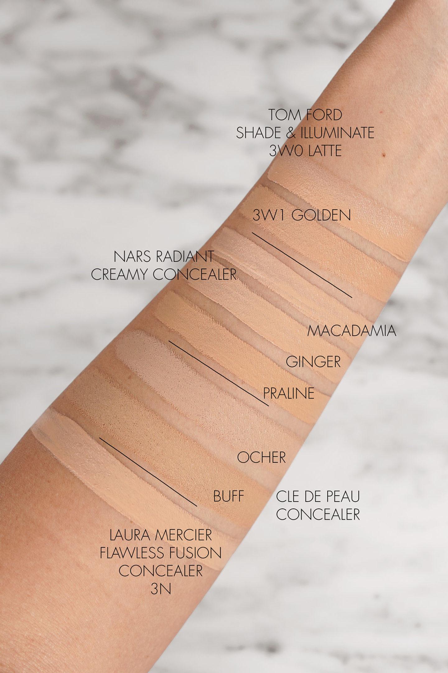 Tom Ford Shade Illuminate Concealer vs NARS Radiant Creamy Concealer, Cle de Peau Concealer et Laura Mercier Flawless Fusion