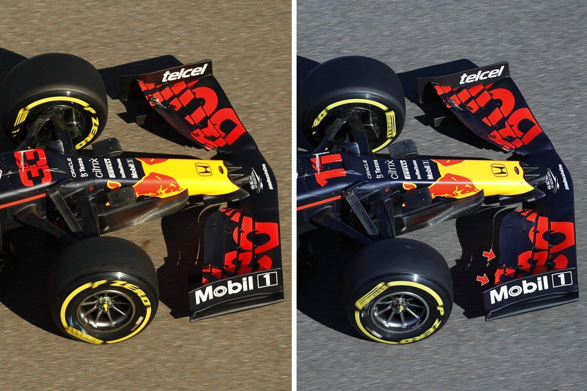 Comparatif de l'aileron avant de la Red Bull RB16B