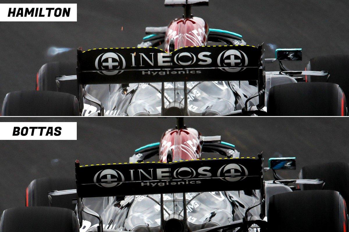 Comparatif de l'aileron arrière de la Mercedes W12