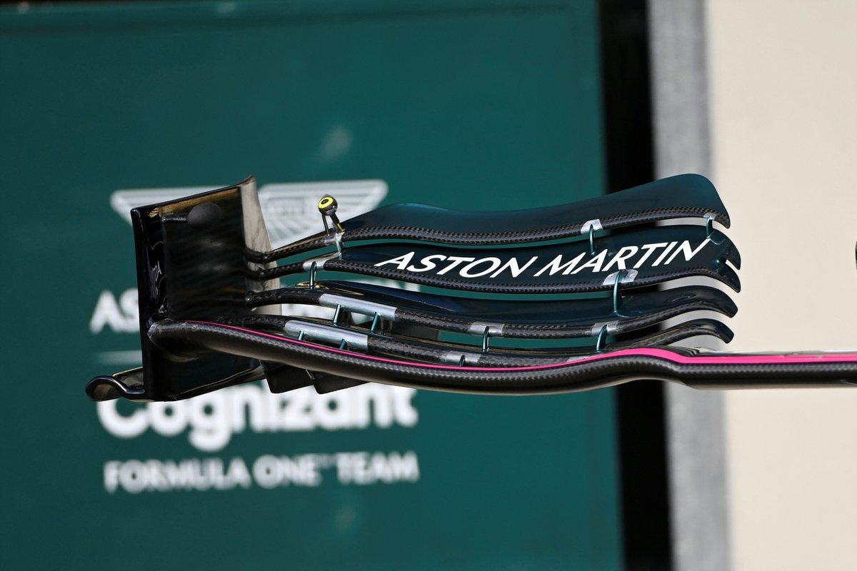 Détail de l'aile avant de l'Aston Martin AMR21