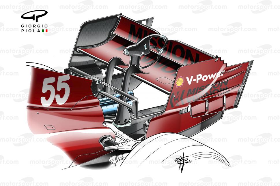 Ferrari SF21 aileron arrière GP d'Espagne